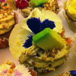 mango coconut creme cake with avocado chili mango frosting with bee pollen